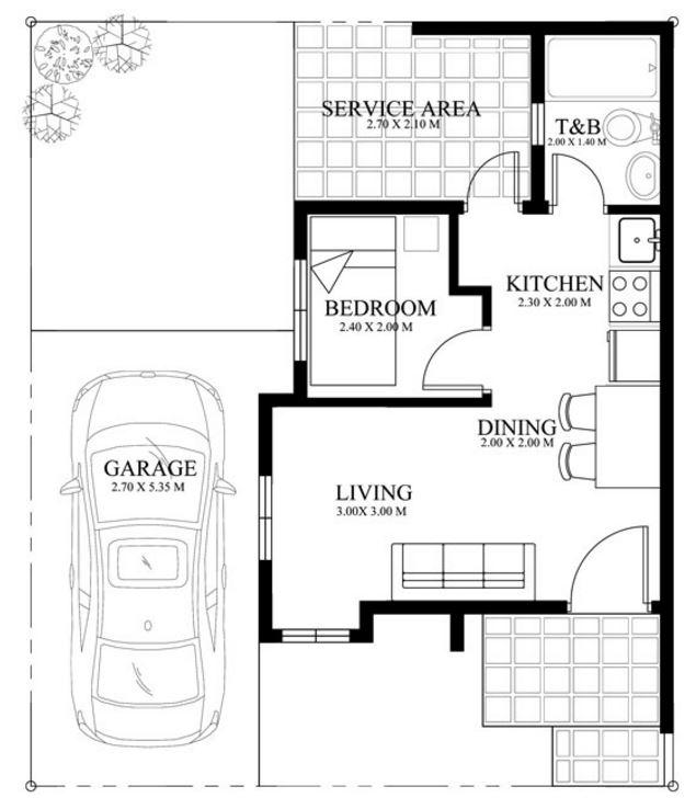 Plano de casa moderna de 1 dormitorio for Planos de cocinas pequenas con medidas