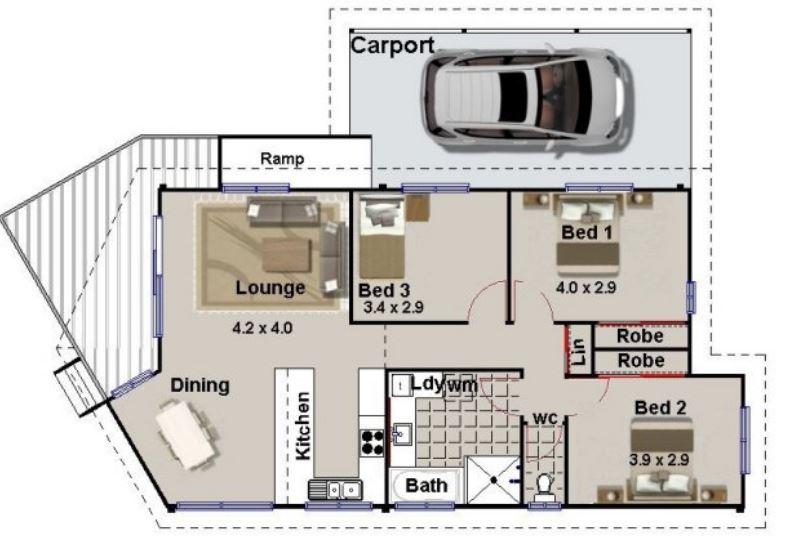 planos de casas de un piso 3 dormitorios y garaje