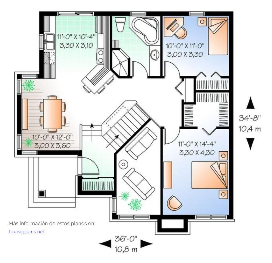 Awesome diseno para una casa de 10 x 10 metros cuadrados for Cuarto de 10 metros cuadrados