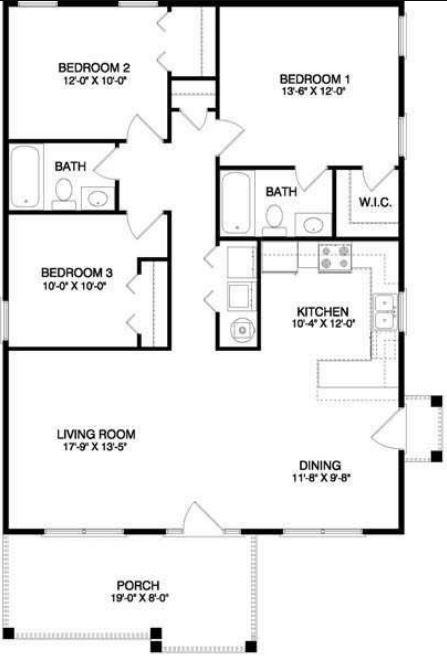 Plano casa 3 dormitorios 1 planta for Planos de casas de tres dormitorios en una planta