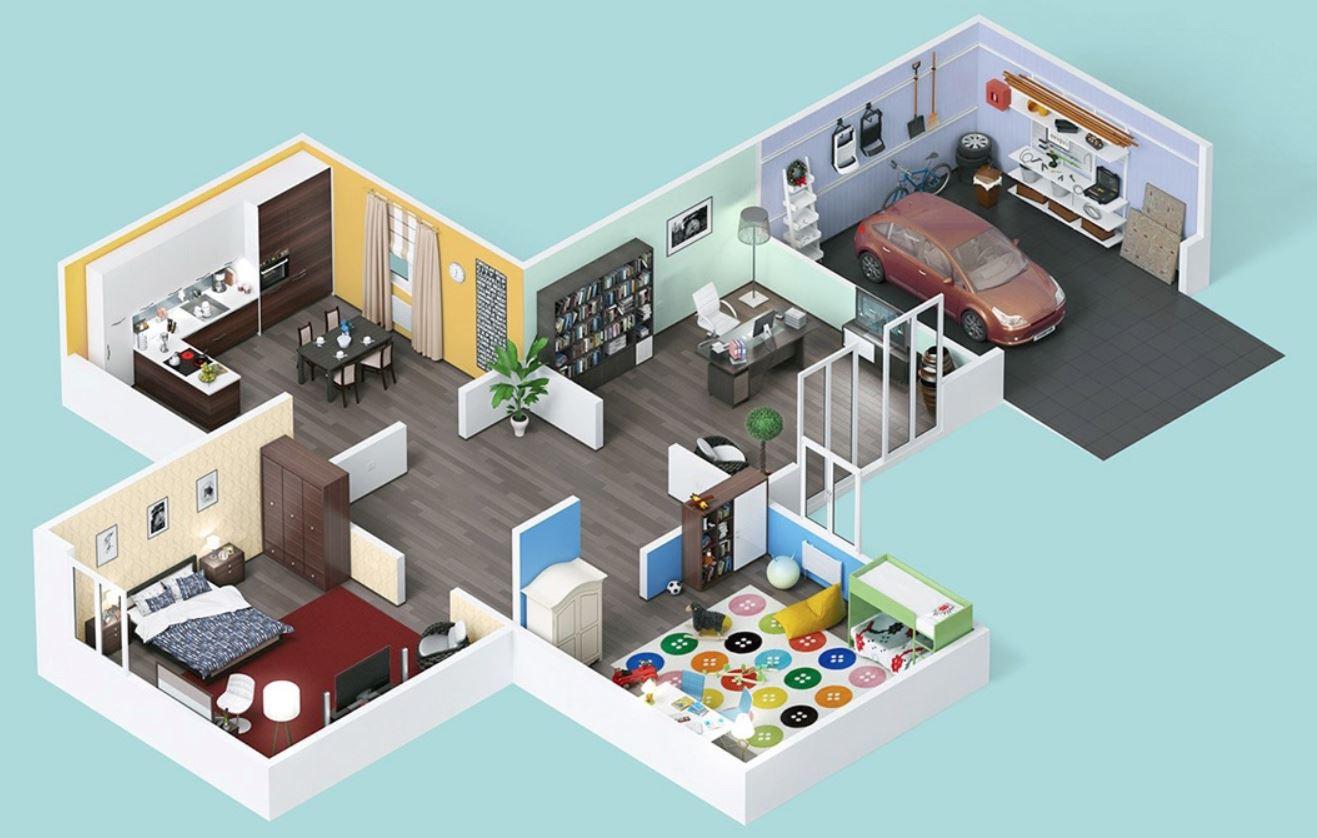 Dise o de casa de 2 dormitorios for Disenos de apartamentos de 2 habitaciones