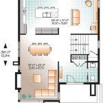 Plano de casa dos dormitorios, cocina, comedor y baño