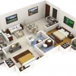 Planos de casa de dos dormitorios en 3D
