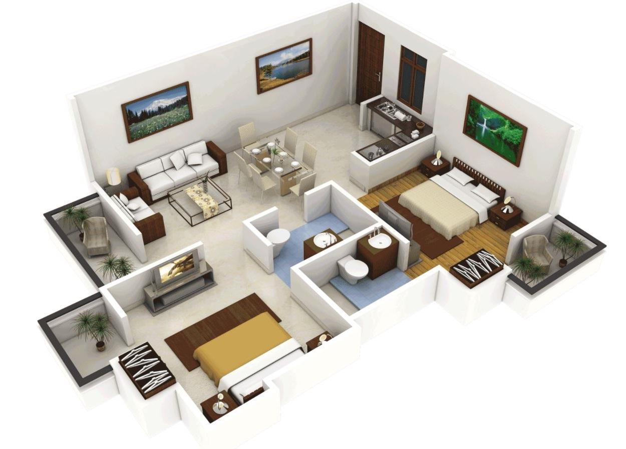 Planos y casas planos de casas plantas arquitect nicas for Planos de casas de dos dormitorios
