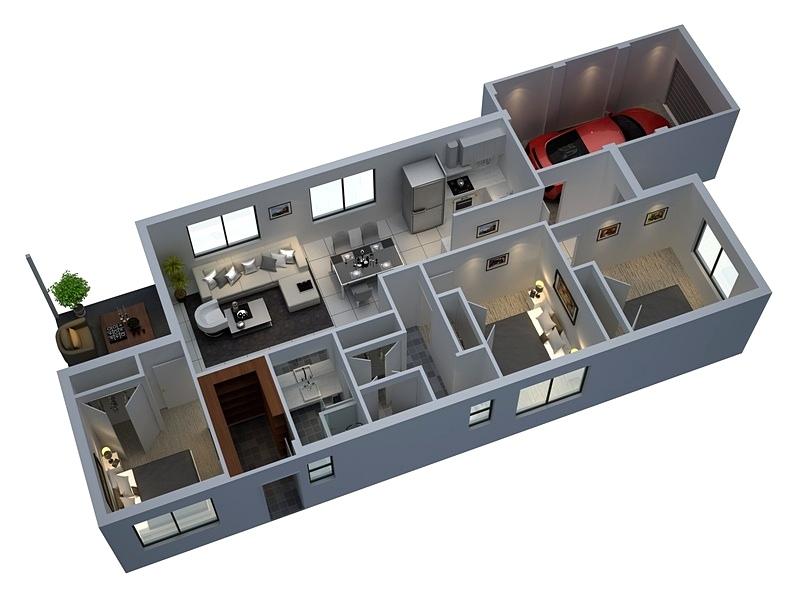 4 planos de casas en 3d con 3 dormitorios - Planos en 3d de casas ...