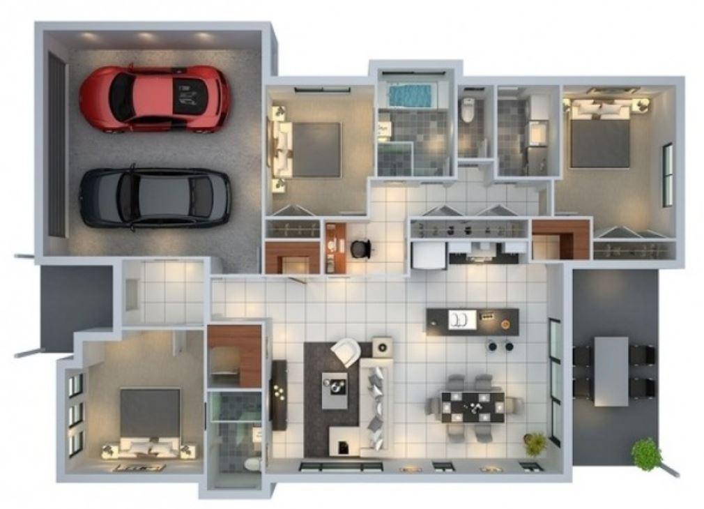 Modelos de casas de una planta para construir for Casa moderna 3 habitaciones