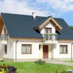 Plano de casa de dos aguas con 3 habitaciones