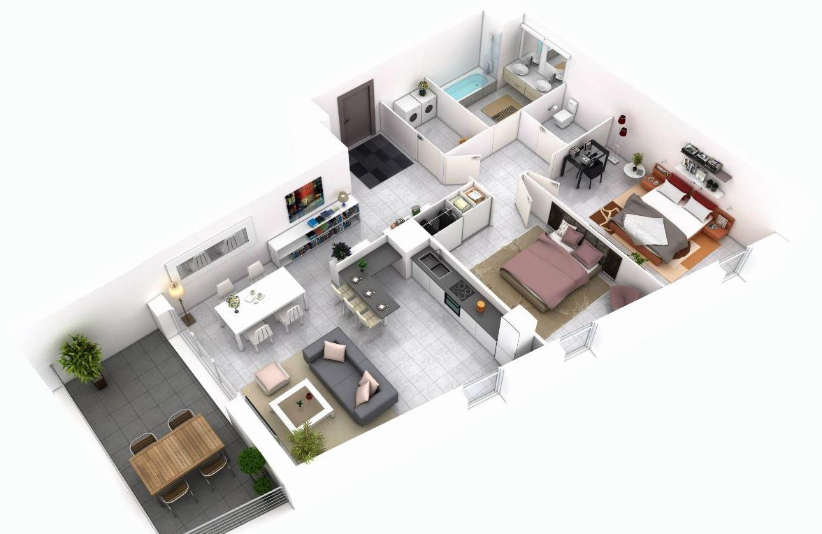 Planos de departamentos peque os minimalistas for Iluminacion departamentos pequenos