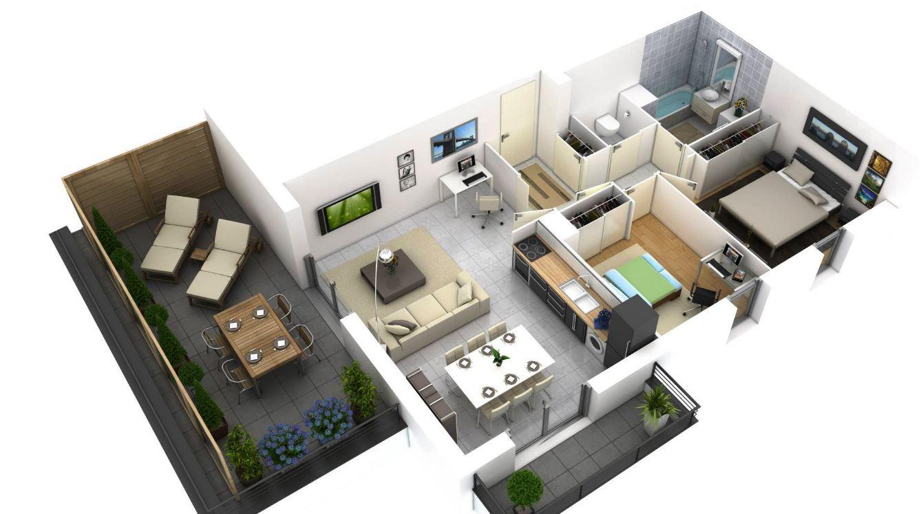 Planos de departamentos peque os minimalistas for Departamentos minimalistas planos