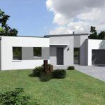 Plano de casa rectangular de 3 habitaciones con cochera