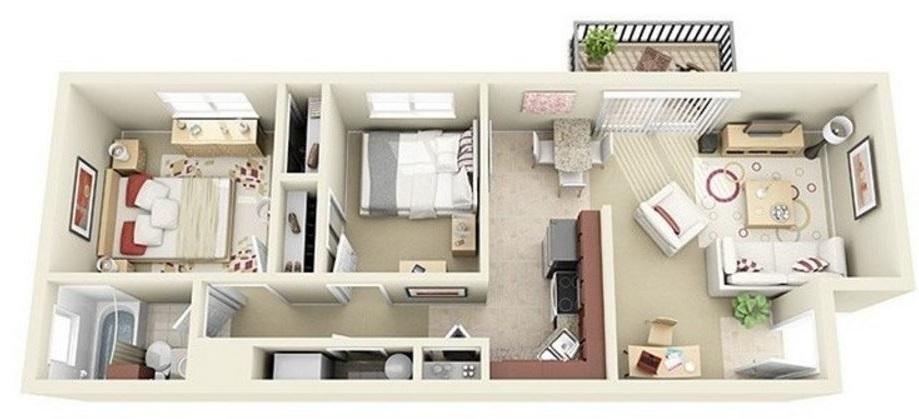 Planos de departamentos largos y angostos - Casas estrechas y largas ...