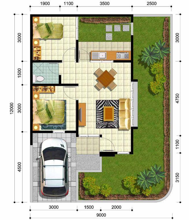 Planos de casas de 2 dormitorios for Casa minimalista de 6 metros